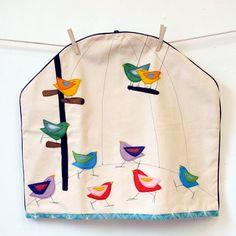 Birdy Bird Cage Felt Applique Kitchen Aid Mixer Cover