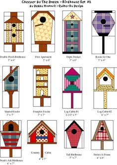 Bird house Quilt Patterns- 'Cheeper by the Dozen Birdhouse Set by Debby Kratovil- Quilter By Design House Quilt Patterns, Paper Pieced Quilt Patterns, Patchwork Quilting, Quilt Block Patterns, Applique Quilts, Paper Patterns, Bird Quilt Blocks, House Quilt Block, Diy Quilt