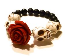 Dia De Los Muertos Bracelet (Day of the Dead Bracelet): Howlite Skull & Onyx Beaded Bracelet. $35.00, via Etsy.