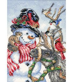 Make a beautiful festive cross stitch present for a dear one, using the Dimensions Gold Collection Petite Snowman and Reindeer Counted Cross Stitch Kit 5 x 7. This counted cross stitch kit is a great