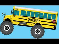 Monster Truck School Buses Teaching Colors & Crushing Words - Learning Basic Colours Video for Kids - YouTube