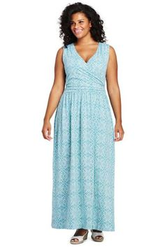 f91382c87d2 Try our Women s Plus Size Sleeveless Knit Surplice Maxi Dress at Lands  End.  Everything
