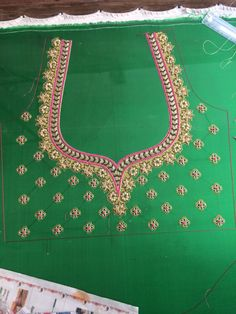 Green blouse with embroidery