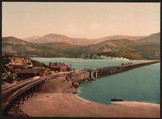Bridge and Cader Idris (i.e. Cadair Idris), Barmouth, Wales