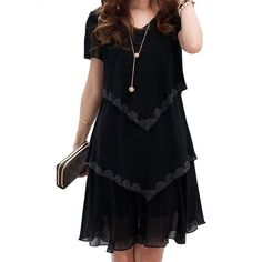 Summer Dresses Party Short Sleeve Casual Vestido De Festa Blue Black Robe  Femme. Plus Size ... 23aa1c793a14