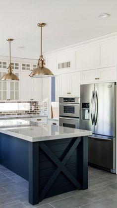 Blue Kitchen Island, Farmhouse Kitchen Island, Modern Farmhouse Kitchens, White Kitchen Cabinets, Kitchen Cabinetry, Home Kitchens, New Kitchen, Kitchen Ideas, Kitchen Decor