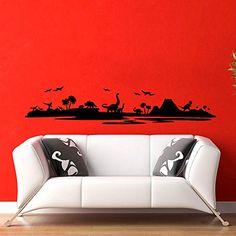 Wall Decals Landscape Dinosaur Sunset Art Bedroom Vinyl Sticker Wall Decor Murals Wall Decal: Amazon.co.uk: Kitchen & Home