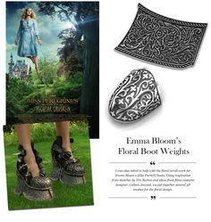 A close up look at the floral scroll work for Emma Bloom's Boot Weights from Miss Peregrine's Home for Peculiar Children. Work done by Stephen Einhorn.