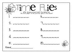 Here is a game for teaching/practicing time! In partners, each player takes a turn drawing a card. Then, they write down the digital time on their recording sheet. Watch out for that fly in that pile! If you pick one, you lose a turn! The first player to fill up their sheet is the winner!