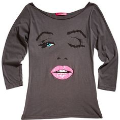 Betsey Johnson Wink Tee featuring polyvore, women's fashion, clothing, tops, t-shirts, shirts, grey, dresses, new arrivals, 3/4 sleeve shirts, cotton t shirt, scoop neck t shirt, sheer t shirt and 3/4 length sleeve t shirts