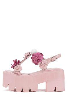 Jeffrey Campbell Ivara-Flr Flower Embellished Lug Sole Platform Sandals in Pink