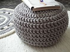 gray crochet pouf - looping home