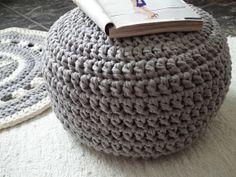 gray crochet pouf - looping home