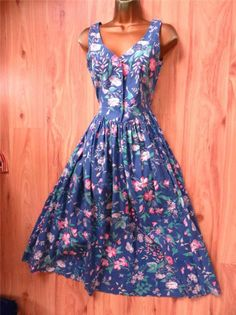 Vtge Laura Ashley 50s Style Sky Blue Cotton Pink Floral English Rose Dress 8-10