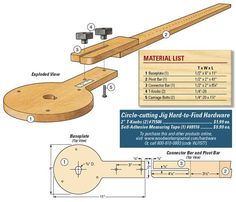 circles with a router or jigsaw Circle-cutting jig with fine adjustment.Circle-cutting jig with fine adjustment. Woodworking Jig Plans, Woodworking Jigsaw, Woodworking Power Tools, Learn Woodworking, Popular Woodworking, Woodworking Techniques, Woodworking Crafts, Woodworking Store, Woodworking Videos