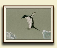 Penguin bird . Frame and mat not included, just the print. A reproduction of my original painting.  These high quality prints are printed