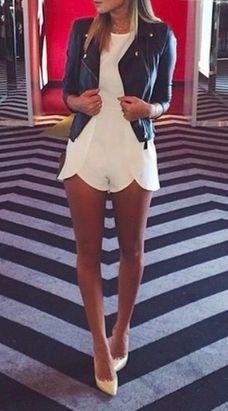 leather jacket + white juimpsuit