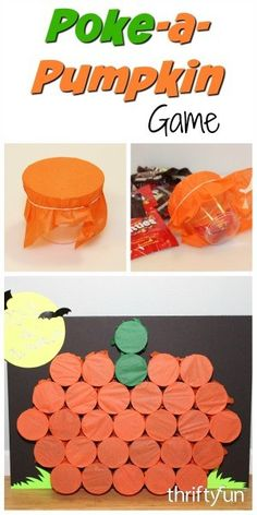 is a guide about making a poke-a-pumpkin game. Make this Halloween or fall festival game for a school or home party.This is a guide about making a poke-a-pumpkin game. Make this Halloween or fall festival game for a school or home party. Deco Haloween, Soirée Halloween, Halloween Class Party, Halloween Birthday, Holidays Halloween, Halloween Festival, Halloween Party Activities, Halloween Games For Preschoolers, Halloween Party For Kids