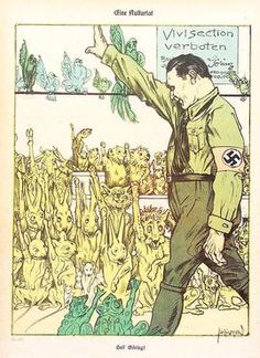 """Lab animals giving the Nazi salute to Hermann Göring for his order to ban vivisection. Caricature from Kladderadatsch, a satirical journal, September 1933. Göring prohibited vivisection and said that those who """"still think they can continue to treat animals as inanimate property"""" would be sent to concentration camps.[8]"""