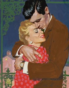 Intimate Embrace, magazine story illustration. Gouache on board 14 x 10 by Jim Schaeffing (American , 20th Century)