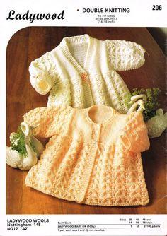 Capa de matiné Ladywood 206 bebé set vintage tejer por Ellisadine