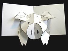 How to Make a Pig Pop up Card (Robert Sabuda Method: He has other pop up cards too)