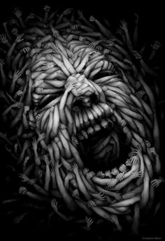 Gloom — worx - Gloom for homies and fams Anton Semenov. Anton is a digital illustrator based somewhere in Russia and his creepy but definitely cool parallel universe, probably, called GloomNiverse. Anton, Arte Horror, Horror Art, Creepy Horror, Horror Film, Art Macabre, Art Noir, Arte Obscura, Wow Art