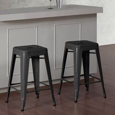 Tabouret 24-inch Charcoal Grey Metal Counter Stools (Set of 2) - Overstock™ Shopping - Great Deals on Dimensions Bar Stools