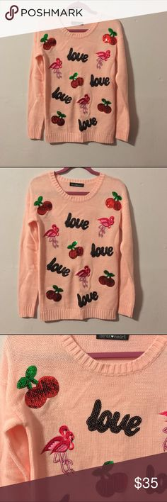 Cherry, love, flamingo kawaii sweater pastel pink Love, cherries, & flamingos oh my! Light pink crew neck sweater with sequin appliqué & embroidery. This item is truly unique & never sold in stores. So kawaii pastel goth that you gotta love it. Never worn & in perfect condition. Best fits a size medium juniors or standard small or medium. Get it while it's hot ladies! Not from wildfox just tagged for exposure. Wildfox Couture Sweaters Crew & Scoop Necks