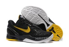 9baf4f0dbb46 Nike Zoom Kobe 6 Black Yellow Basketball Shoes Authentic