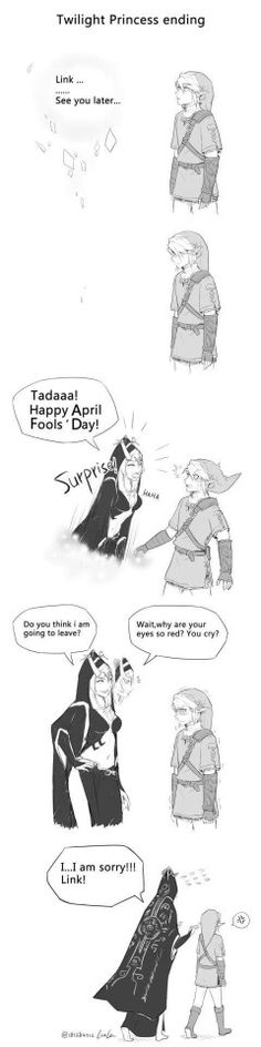 This is so cute! Midna never left she was just playing an April fools joke.