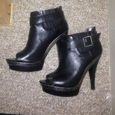 Steve Madden booties Black booties, metallic snake trim. Worn one time Steve Madden Shoes Ankle Boots & Booties