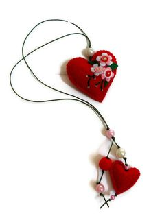 back to school/ Felt bookmark with a red heart /felt Heart /f elt toy/ gift for child / Ready to Ship. $11.00, via Etsy.