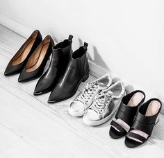 black + silver shoes
