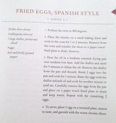 """Spanish Eggs   """"French Women Don't Get Fat"""" Cookbook"""