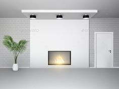 Buy Fireplace Interior with Palm by macrovector on GraphicRiver. Fireplace interior with palm tree white door and brick wall vector illustration. Dj Party, Cover Design, Casa Anime, Empty Room, White Doors, Brick Wall, Imvu, Modern, House Design