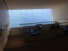 ICA interactive media room www.myartboston.com Institute Of Contemporary Art, Interactive Media, Blinds, Curtains, Architecture, Building, Room, Home Decor, Arquitetura