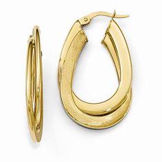 Oval Hoop Earrings https://www.goldinart.com/shop/earring/14k-earrings/oval-hoop-earrings-3 #14KaratYellowGold, #OvalHoops