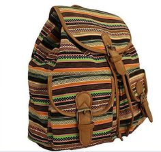 """Bestope 2015 Fashion Women's Casual Canvas Backpack (T-Brow). Material: Canvas & PU; Size: (H) 13.3"""", (L) 11"""", (W) 6.9"""". Fashionable and trendy design with vintage floral or strip print. Special design straps ease the pressure on the shoulder. Perfect for students, daily use, traveling, hiking, camping and other outdoor activities. Please allow little color difference due to different camera or light environment."""