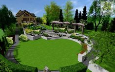 Excellent example of a geometric garden design adapting to a sloping lot and featuring a distinctive lower lawn.