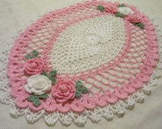Items similar to Happy Valentines/Mothers day pink and white heart lace crocheted doily home decor handmade in USA original design on Etsy