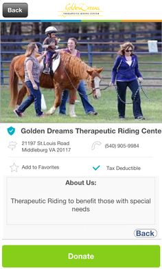 Golden Dreams Therapeutic Riding Center in Middleburg, Virginia #GivelifyNonprofits