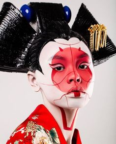 Likes, 61 Comments – ⠀⠀⠀⠀⠀⠀⠀… Geisha Makeup, Geisha Art, Makeup Art, Geisha Drawing, Character Inspiration, Character Design, Arte Fashion, Arte Cyberpunk, Photo Portrait