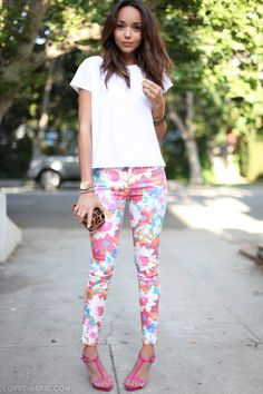 floral pants fashion pink floral white heels pants girlie fashion photography