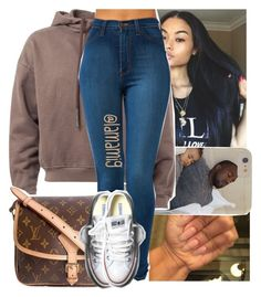 """bet you niggäs won't come cross the street"" by lamamig ❤ liked on Polyvore featuring Louis Vuitton and Converse"
