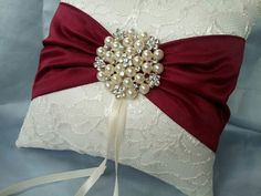 Items similar to Ivory Dark Red Ring Bearer Pillow Lace Ring Pillow Pearl Rhinestone Accent Cranberry Apple Red on Etsy Wedding Ring Cushion, Wedding Pillows, Cushion Ring, Ring Bearer Pillows, Ring Pillows, Lace Ring, Flower Girl Basket, Red Apple, Wedding Accessories