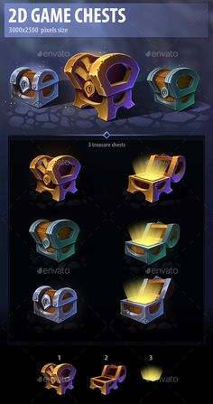 Buy Game Chests by a-ravlik on GraphicRiver. A set of 3 game chests. Game Ui Design, Prop Design, Badge Icon, Game Effect, Casual Art, Box Icon, Art Web, Mobile Art, Game Background