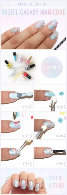Nailart Tutorial Pastel Galaxy Nails