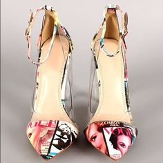 Magazine article print pumps. Very stylish and cute pump! Size 8.5 but fits like an 8. Shoes Heels