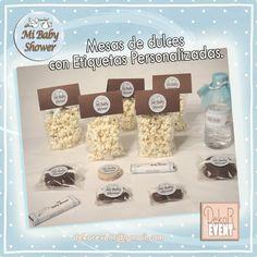 Mesas de Dulces. Etiquetas personalizadas para el producto de tu elección. Baby Shower